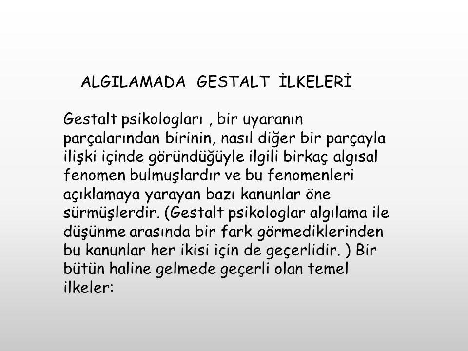 ALGILAMADA GESTALT İLKELERİ