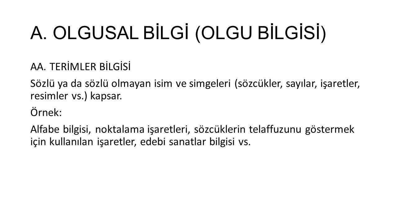 A. OLGUSAL BİLGİ (OLGU BİLGİSİ)