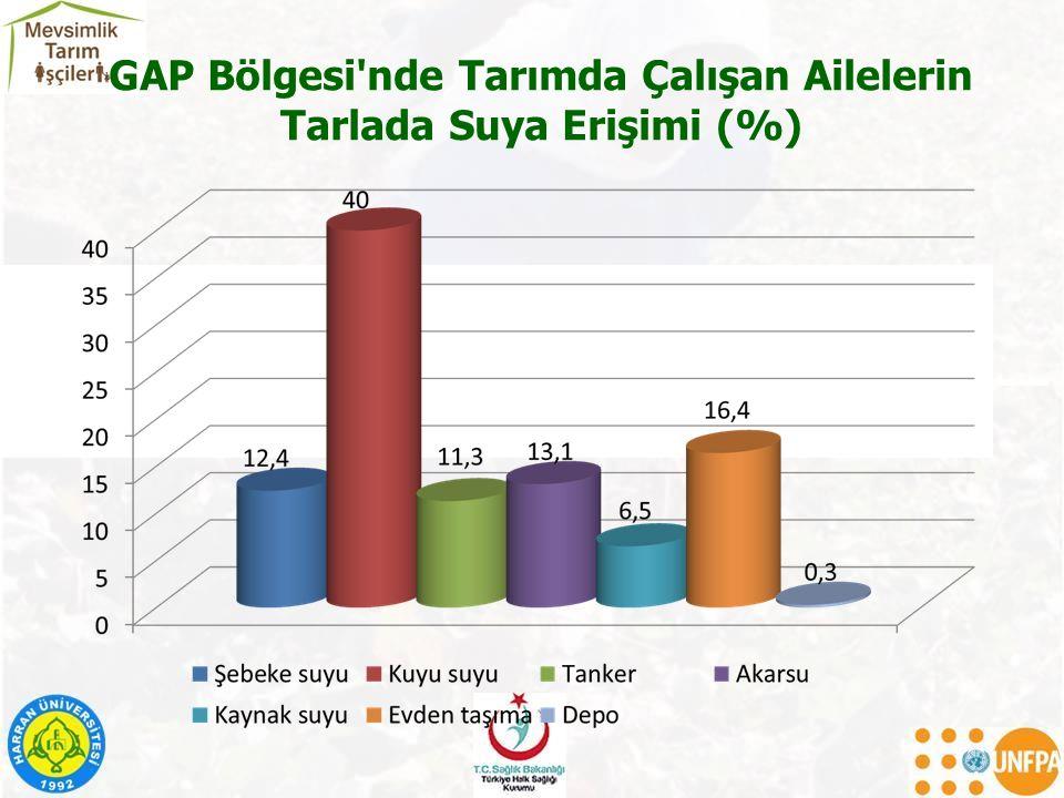 GAP Bölgesi nde Tarımda Çalışan Ailelerin Tarlada Suya Erişimi (%)