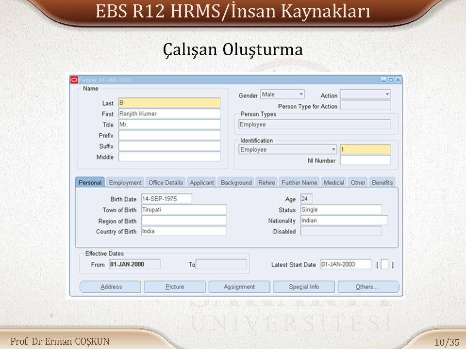 EBS R12 HRMS/İnsan Kaynakları