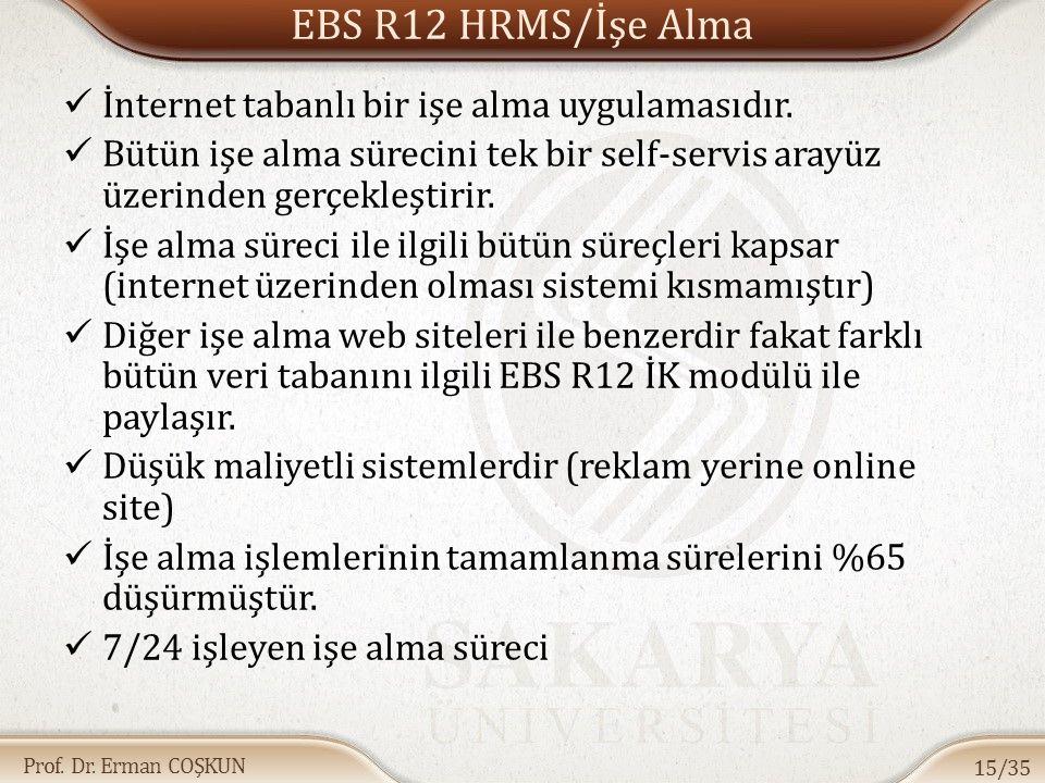 EBS R12 HRMS/İşe Alma İnternet tabanlı bir işe alma uygulamasıdır.