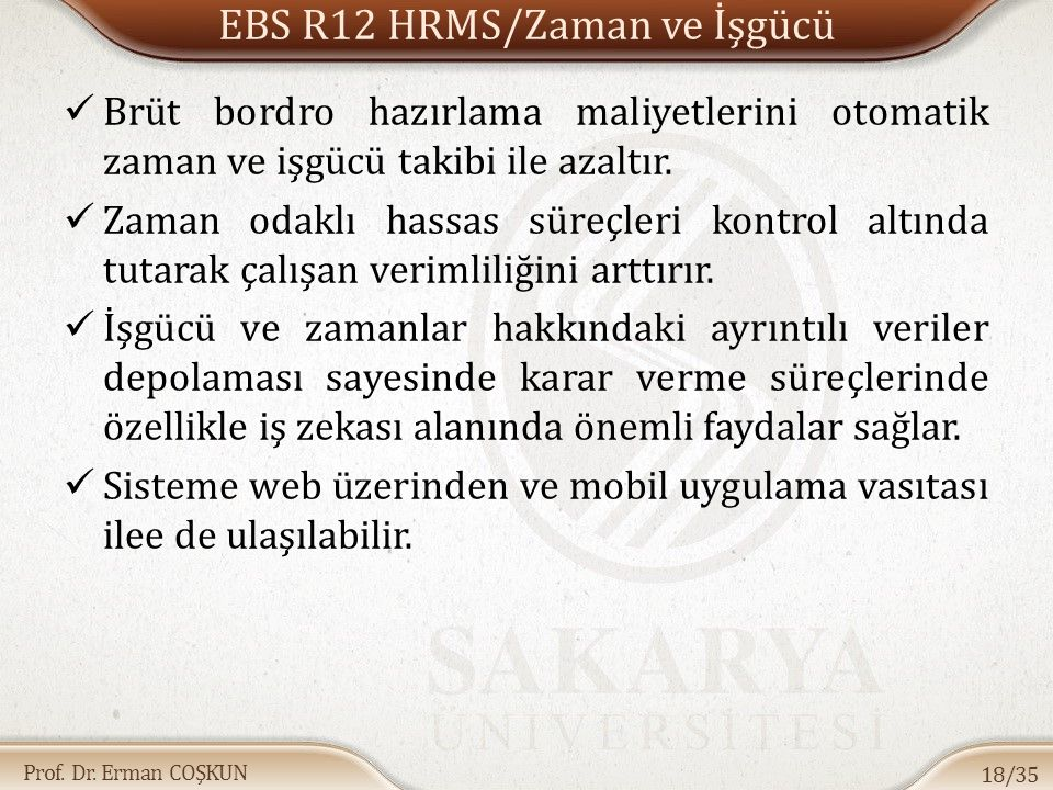 EBS R12 HRMS/Zaman ve İşgücü