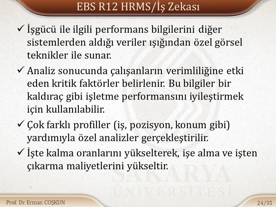 EBS R12 HRMS/İş Zekası İşgücü ile ilgili performans bilgilerini diğer sistemlerden aldığı veriler ışığından özel görsel teknikler ile sunar.
