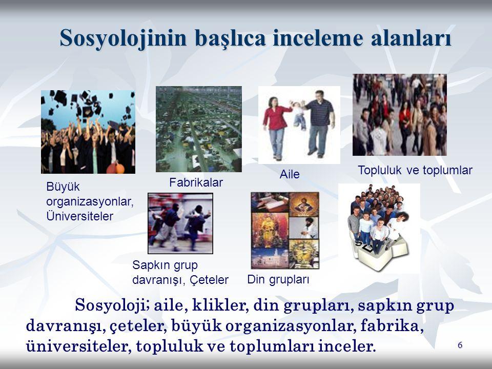 Sosyolojinin başlıca inceleme alanları