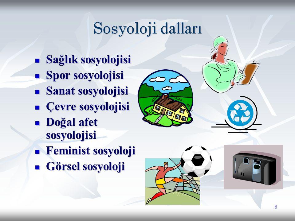 Sosyoloji dalları Sağlık sosyolojisi Spor sosyolojisi