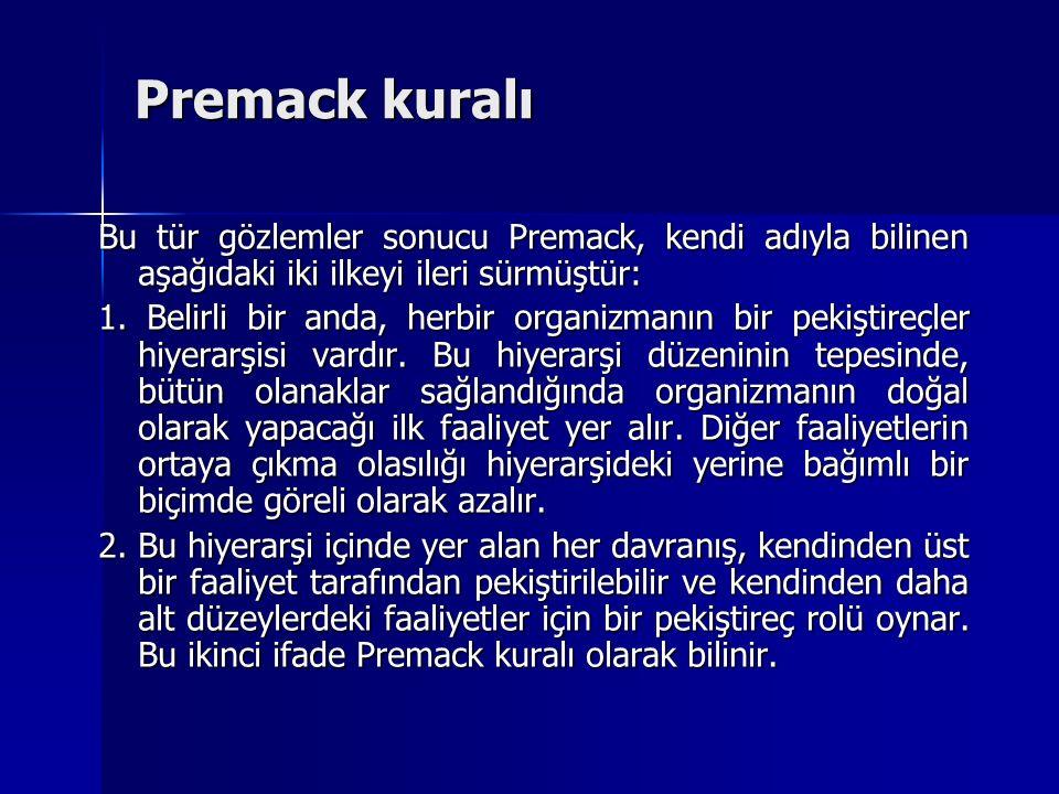 Premack kuralı Bu tür gözlemler sonucu Premack, kendi adıyla bilinen aşağıdaki iki ilkeyi ileri sürmüştür: