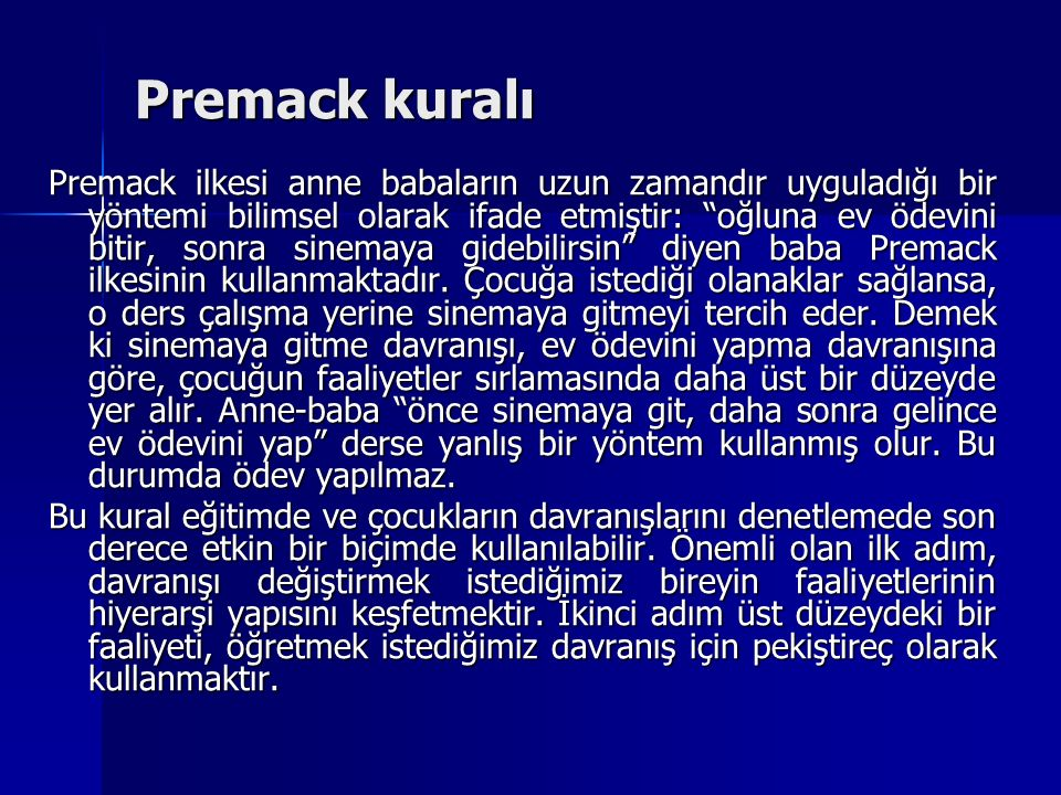Premack kuralı