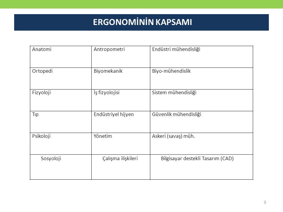 ERGONOMİNİN KAPSAMI Anatomi Antropometri Endüstri mühendisliği