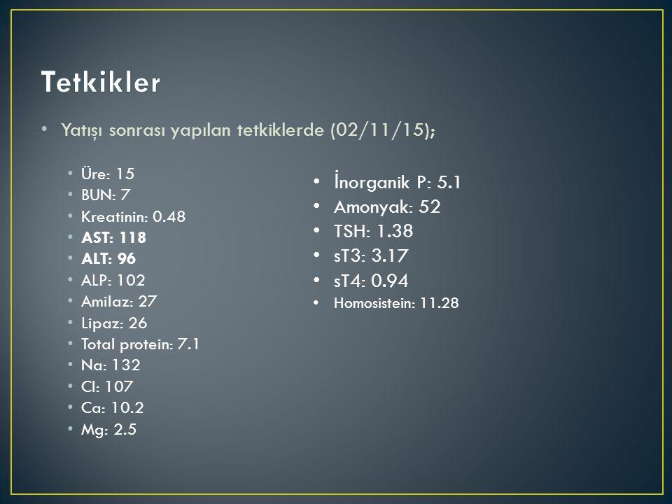 Tetkikler Yatışı sonrası yapılan tetkiklerde (02/11/15);