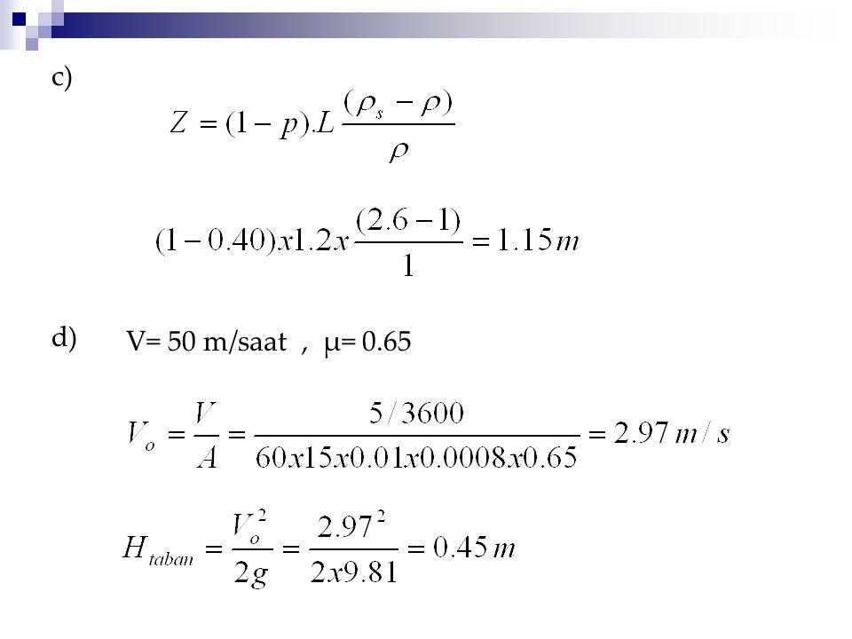 c) d) V= 50 m/saat , μ= 0.65