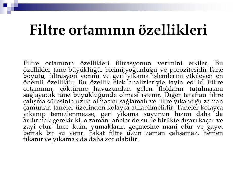 Filtre ortamının özellikleri
