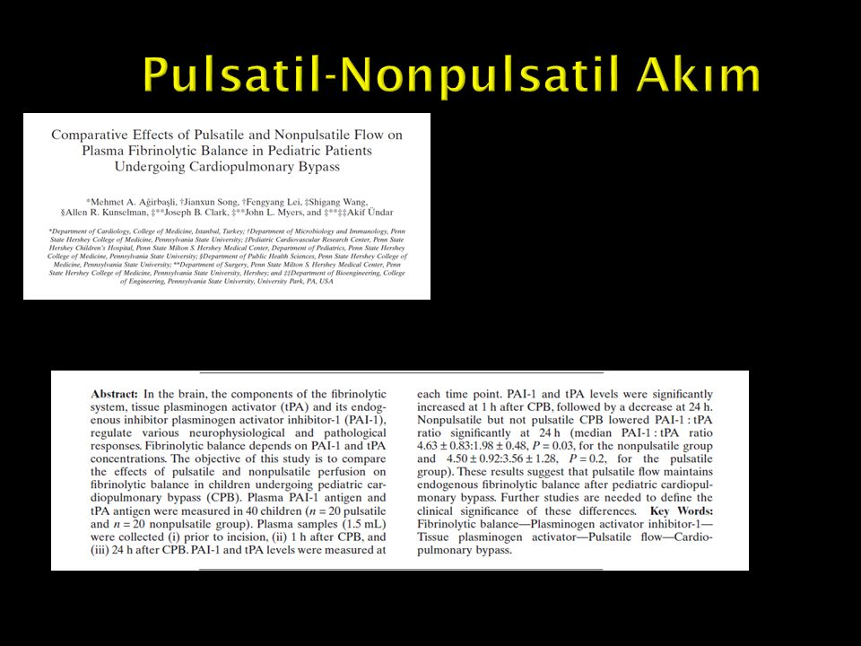 Pulsatil-Nonpulsatil Akım