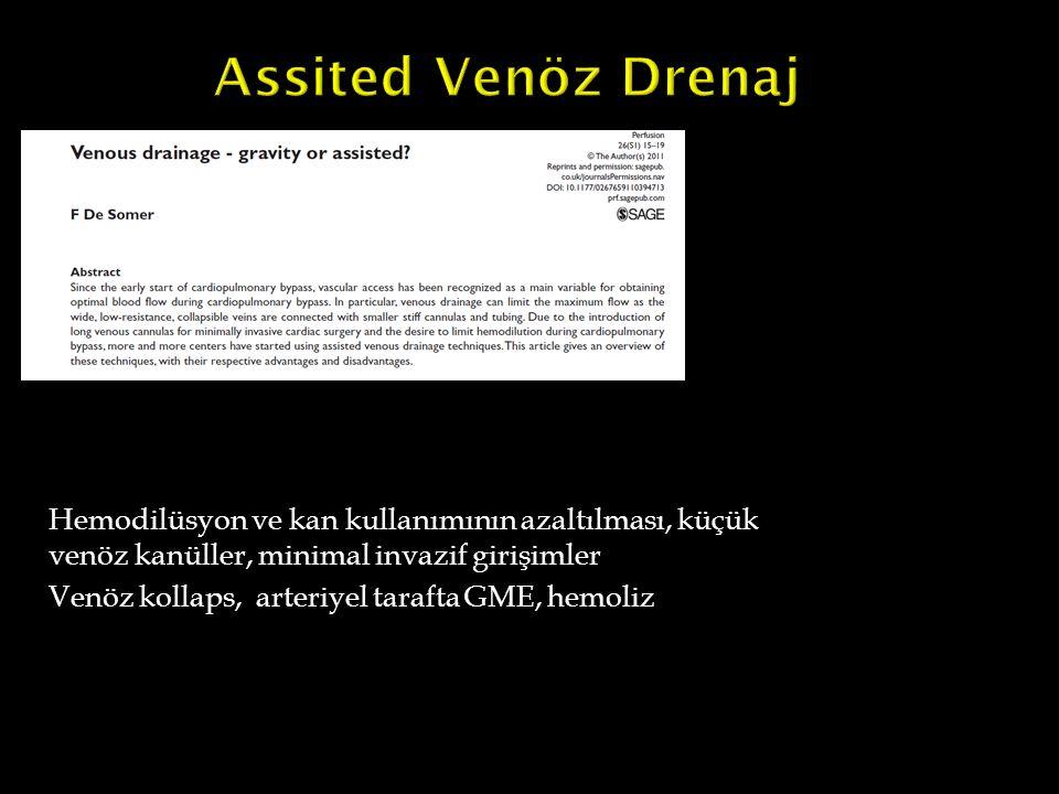 Assited Venöz Drenaj Hemodilüsyon ve kan kullanımının azaltılması, küçük venöz kanüller, minimal invazif girişimler.