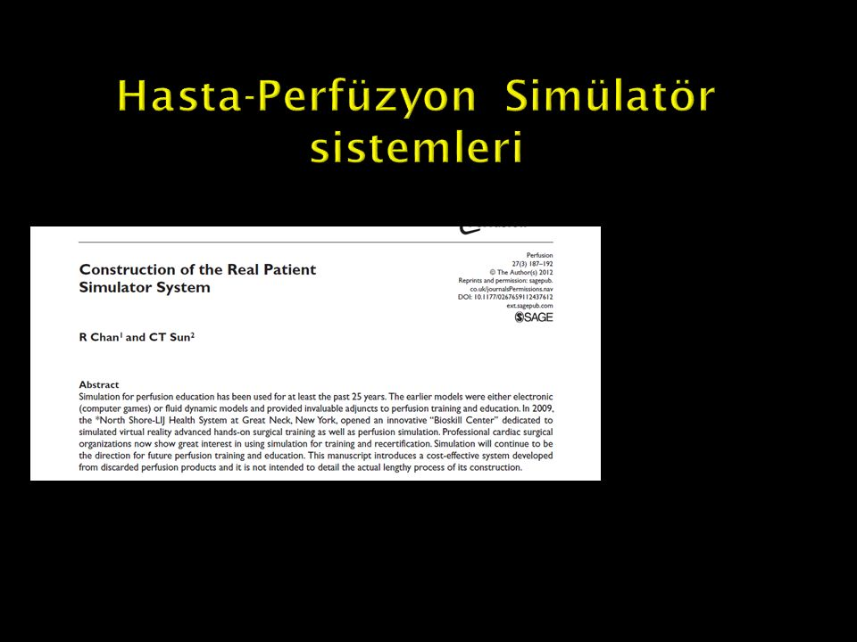 Hasta-Perfüzyon Simülatör sistemleri