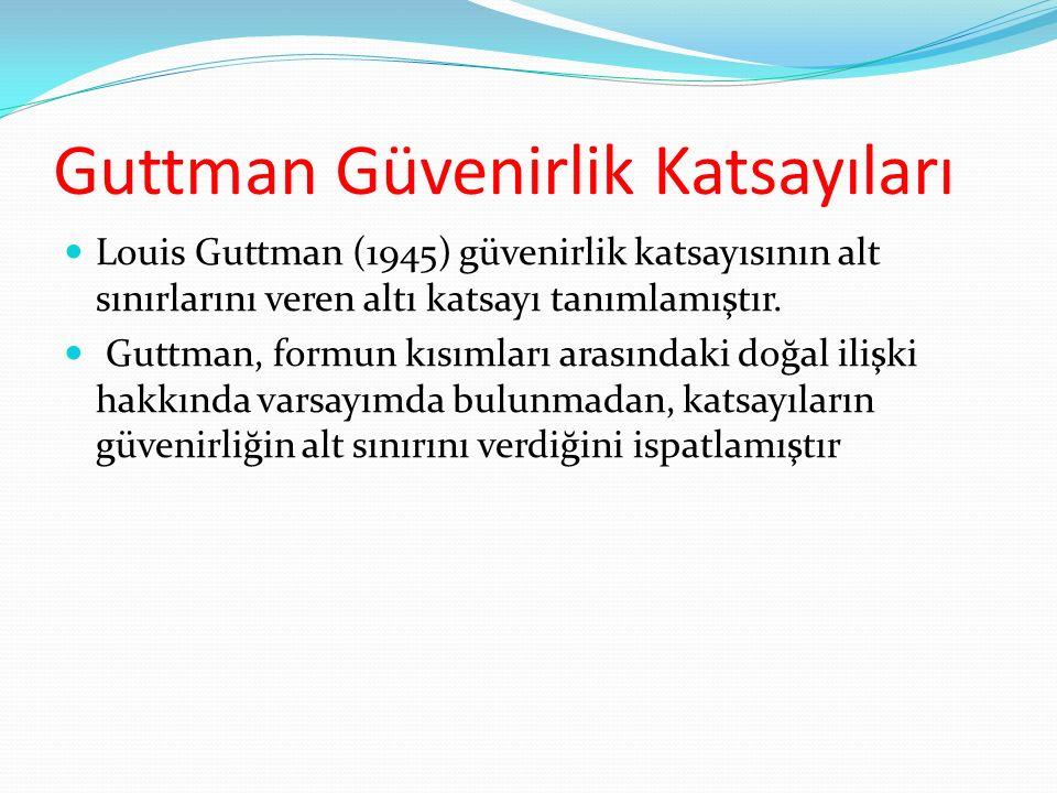 Guttman Güvenirlik Katsayıları