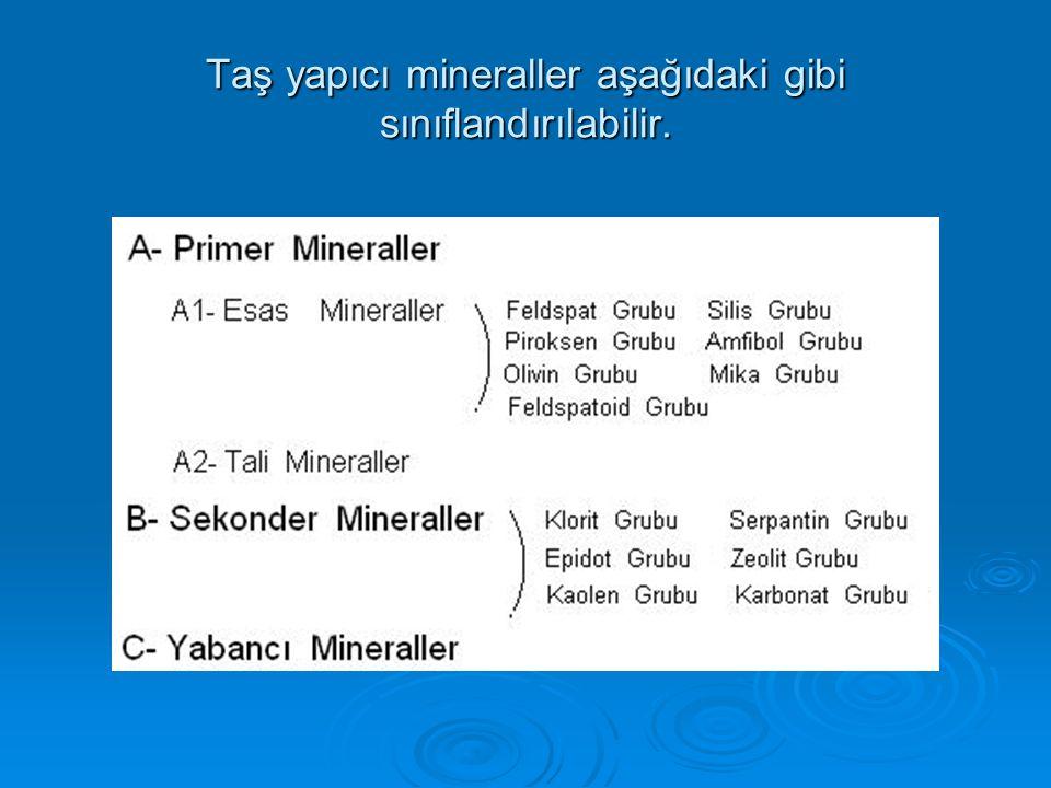 Taş yapıcı mineraller aşağıdaki gibi sınıflandırılabilir.