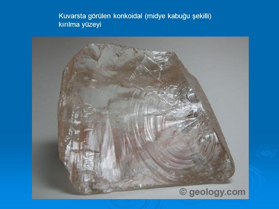 Kuvarsta görülen konkoidal (midye kabuğu şekilli) kırılma yüzeyi