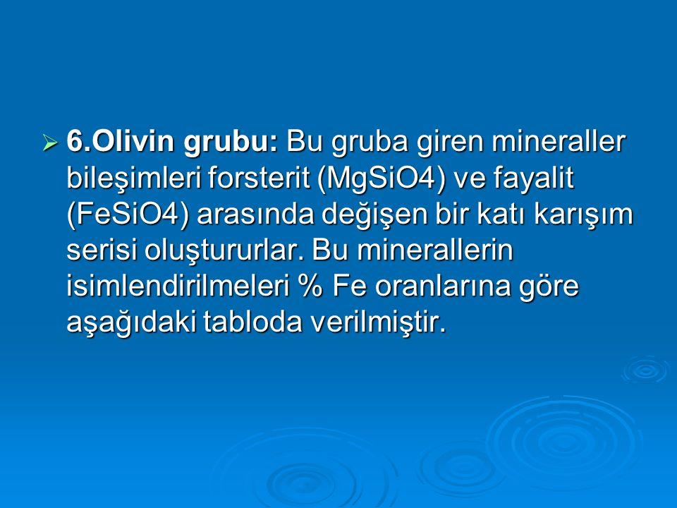 6.Olivin grubu: Bu gruba giren mineraller bileşimleri forsterit (MgSiO4) ve fayalit (FeSiO4) arasında değişen bir katı karışım serisi oluştururlar.