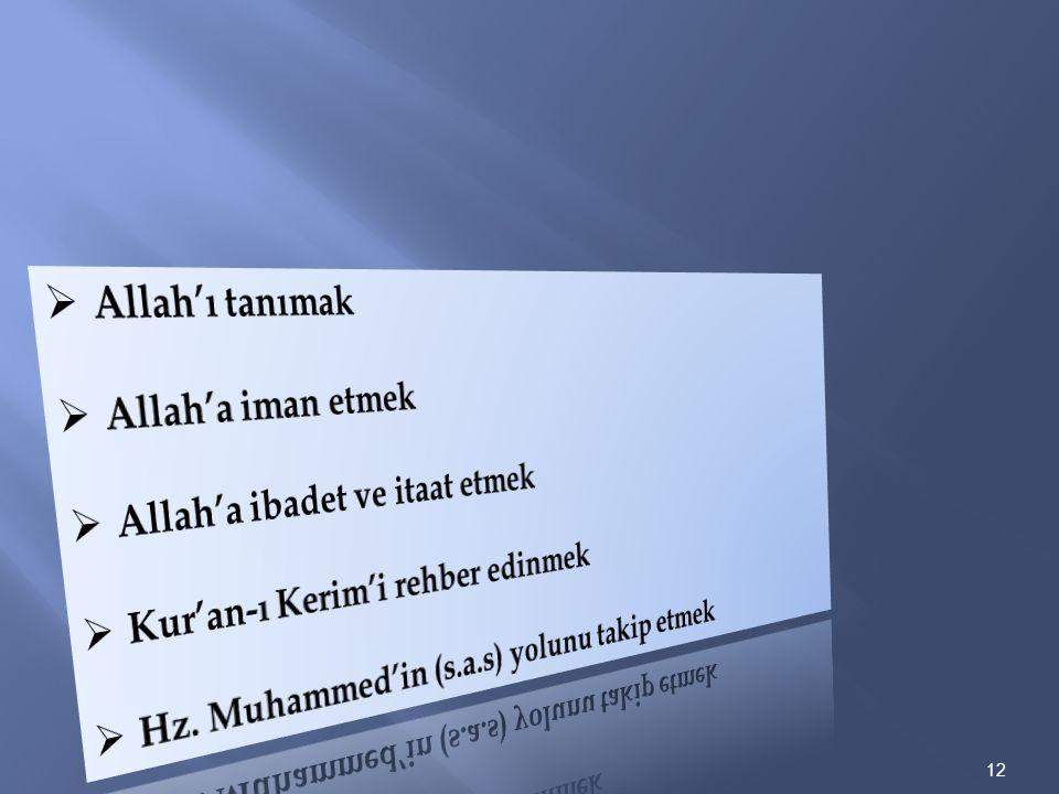 Allah'ı tanımak Allah'a iman etmek. Allah'a ibadet ve itaat etmek. Kur'an-ı Kerim'i rehber edinmek.