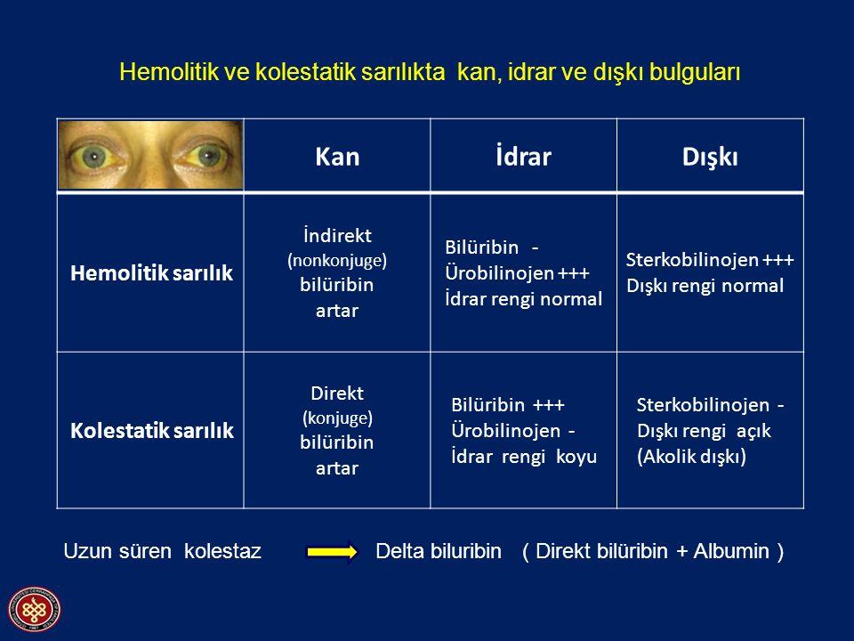 Hemolitik ve kolestatik sarılıkta kan, idrar ve dışkı bulguları