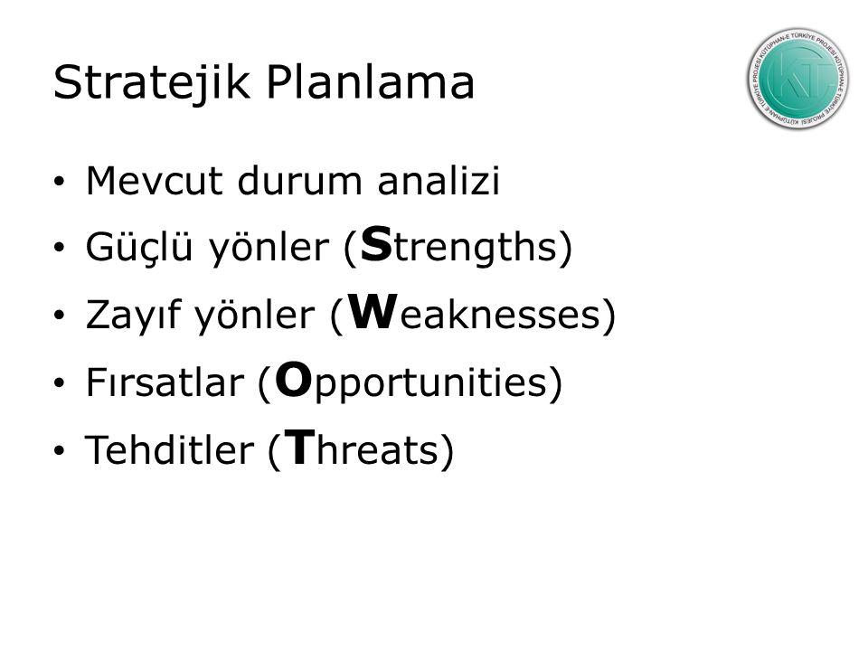 Stratejik Planlama Mevcut durum analizi Güçlü yönler (Strengths)