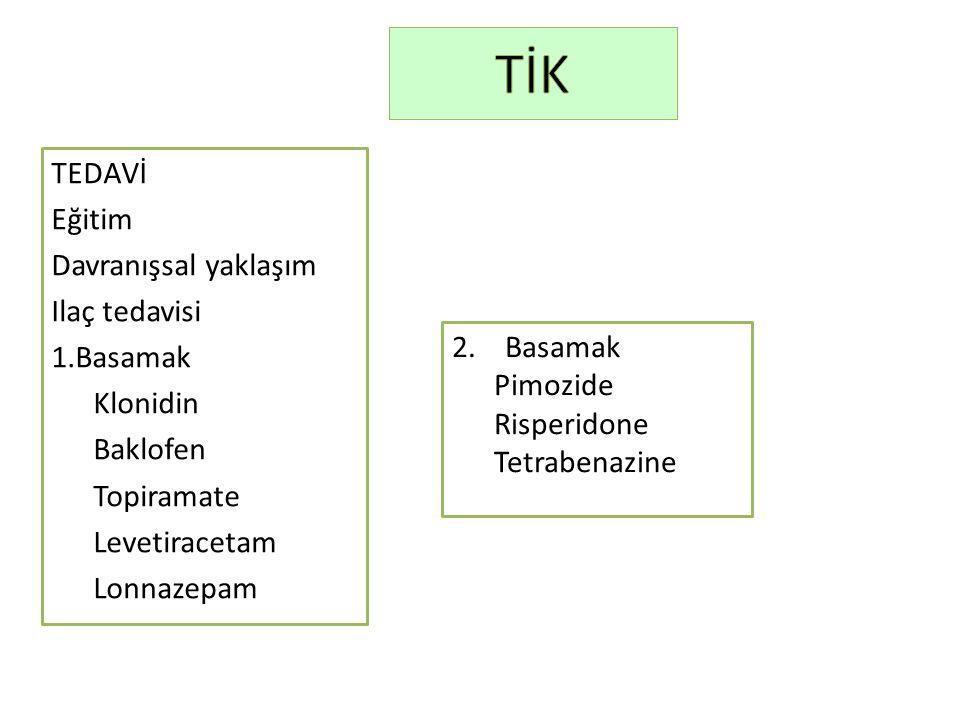 TİK TEDAVİ Eğitim Davranışsal yaklaşım Ilaç tedavisi Basamak Klonidin