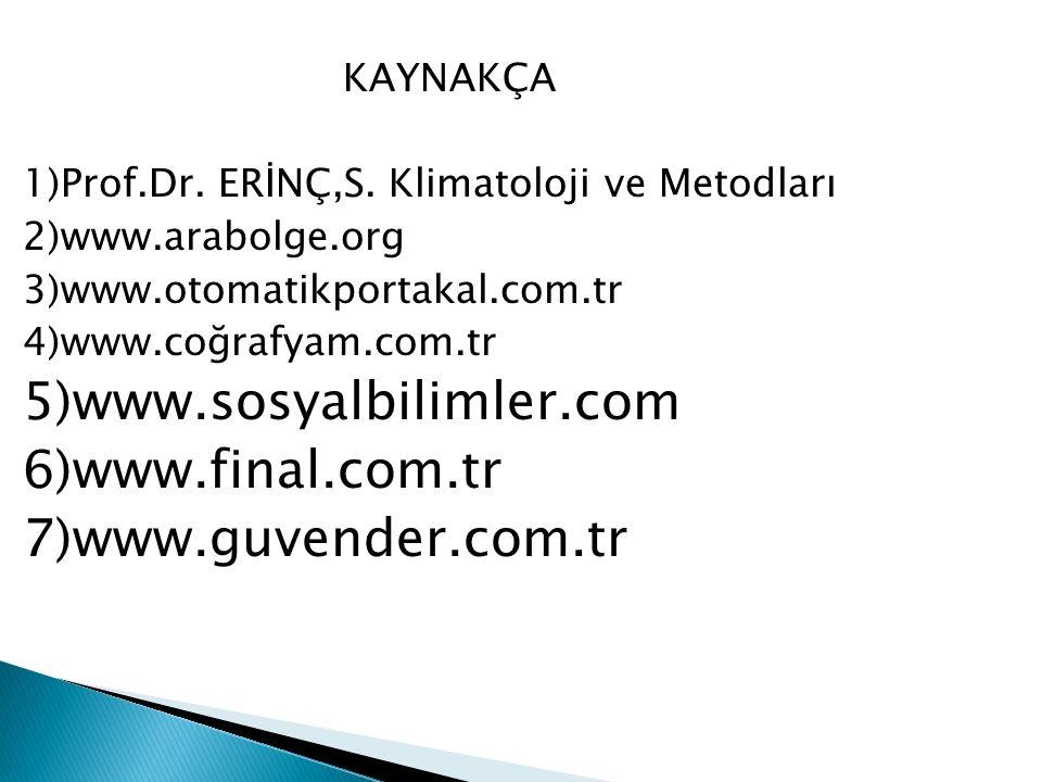 5)www.sosyalbilimler.com 6)www.final.com.tr 7)www.guvender.com.tr
