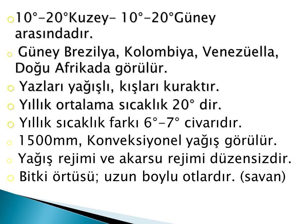 10°-20°Kuzey- 10°-20°Güney arasındadır.
