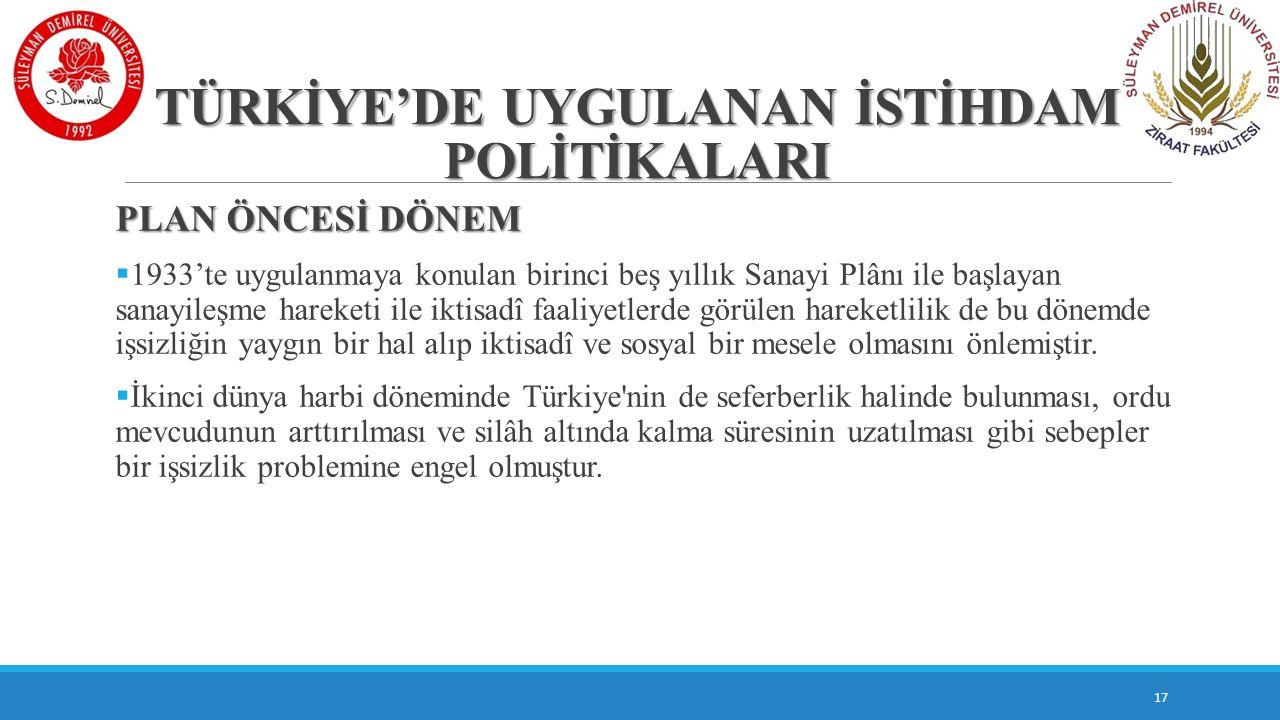 TÜRKİYE'DE UYGULANAN İSTİHDAM POLİTİKALARI