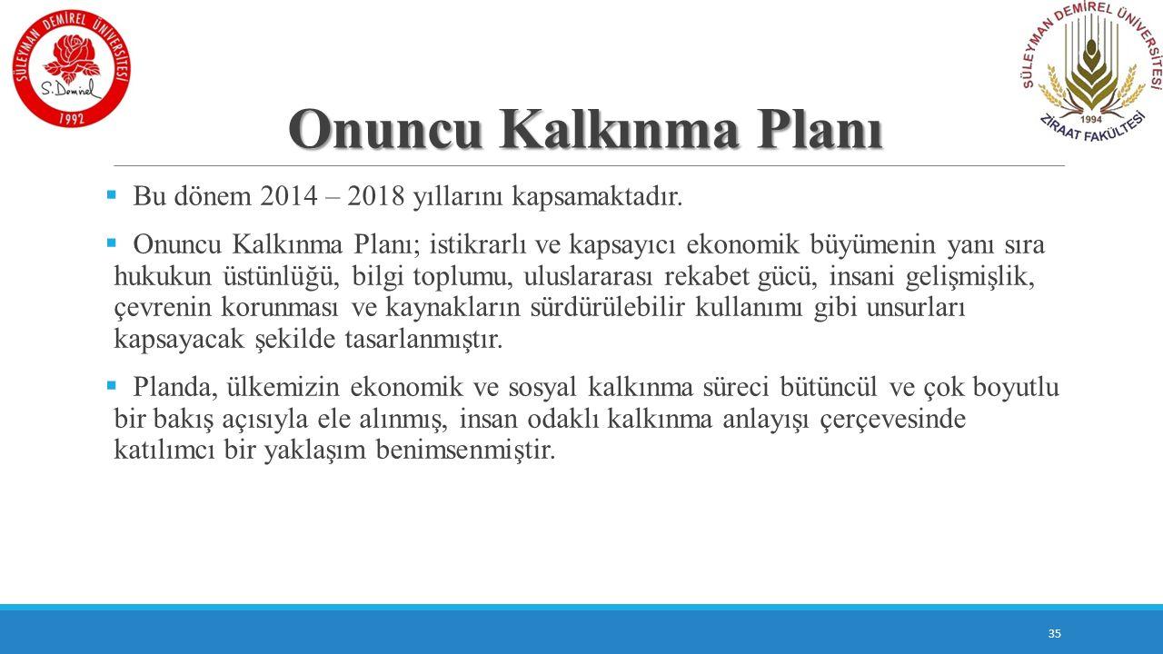 Onuncu Kalkınma Planı Bu dönem 2014 – 2018 yıllarını kapsamaktadır.