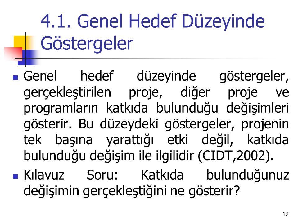 4.1. Genel Hedef Düzeyinde Göstergeler