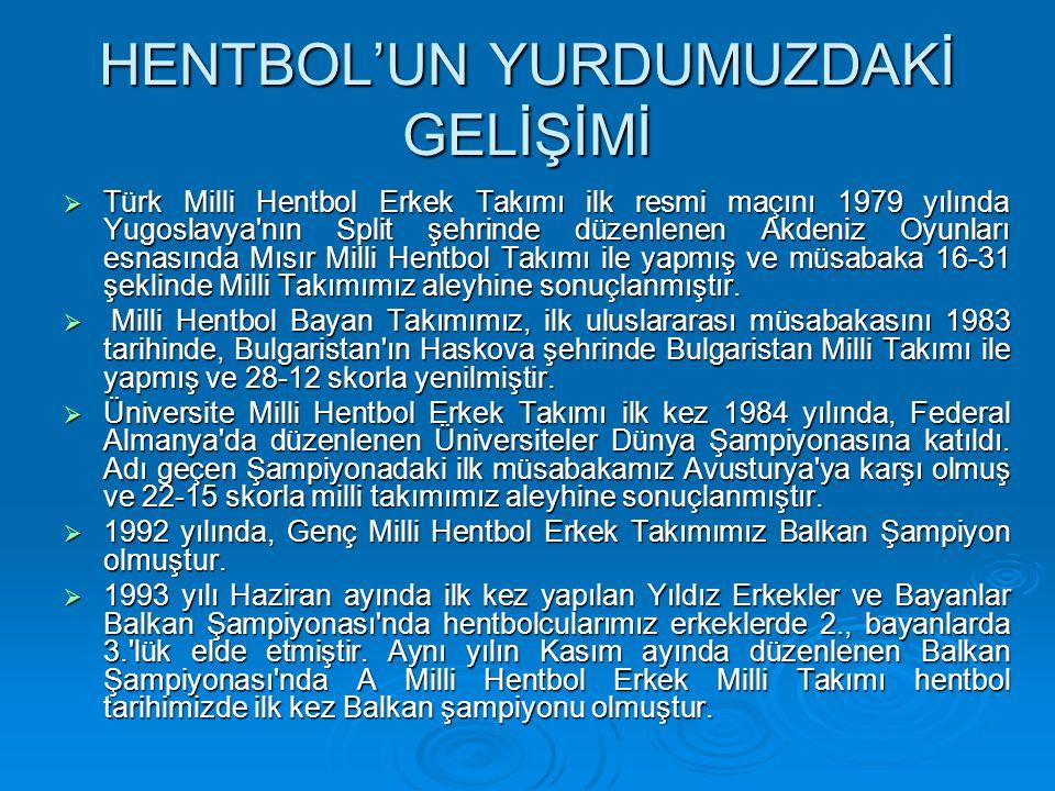 HENTBOL'UN YURDUMUZDAKİ GELİŞİMİ