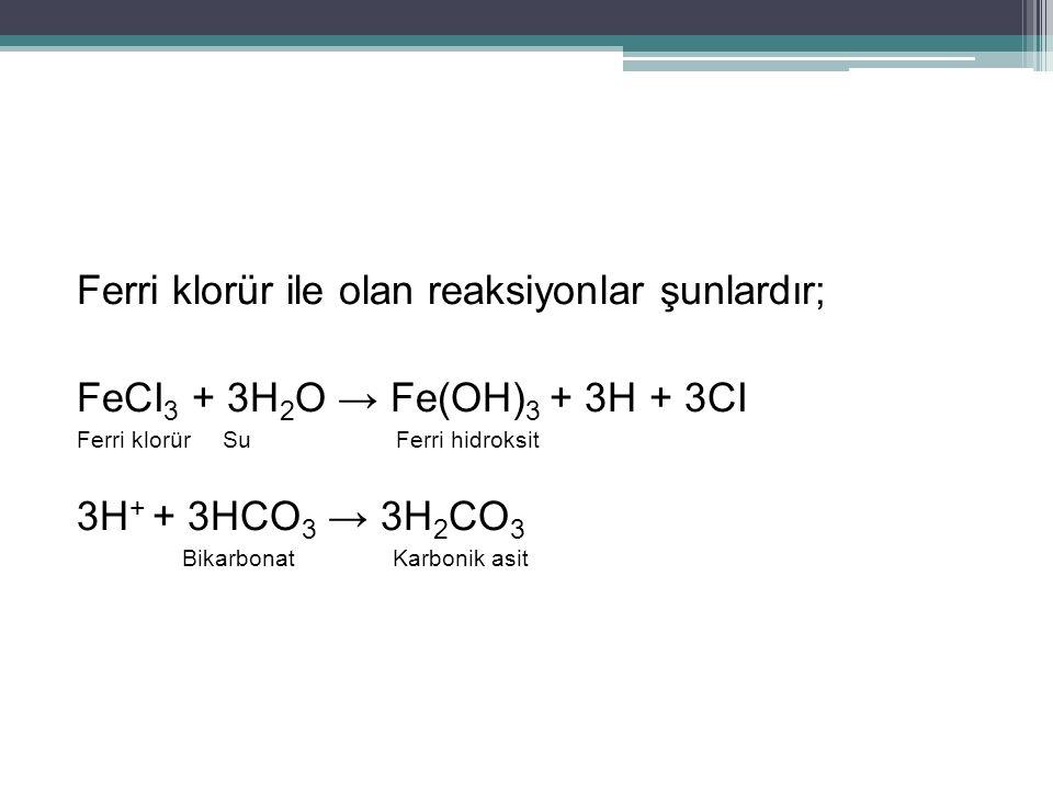 Ferri klorür ile olan reaksiyonlar şunlardır;