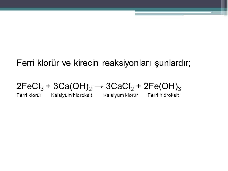Ferri klorür ve kirecin reaksiyonları şunlardır;