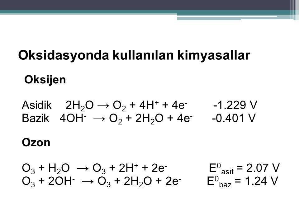 Oksidasyonda kullanılan kimyasallar