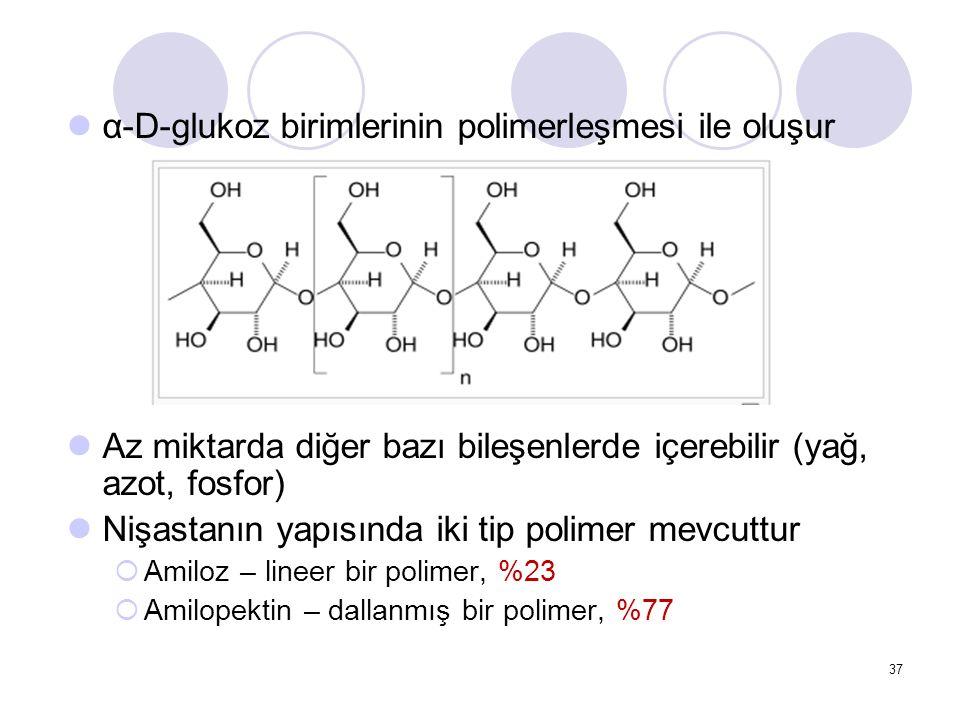 α-D-glukoz birimlerinin polimerleşmesi ile oluşur