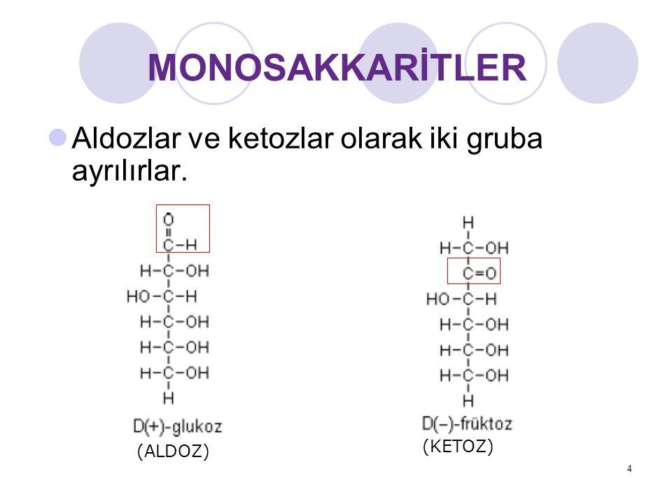 MONOSAKKARİTLER Aldozlar ve ketozlar olarak iki gruba ayrılırlar.