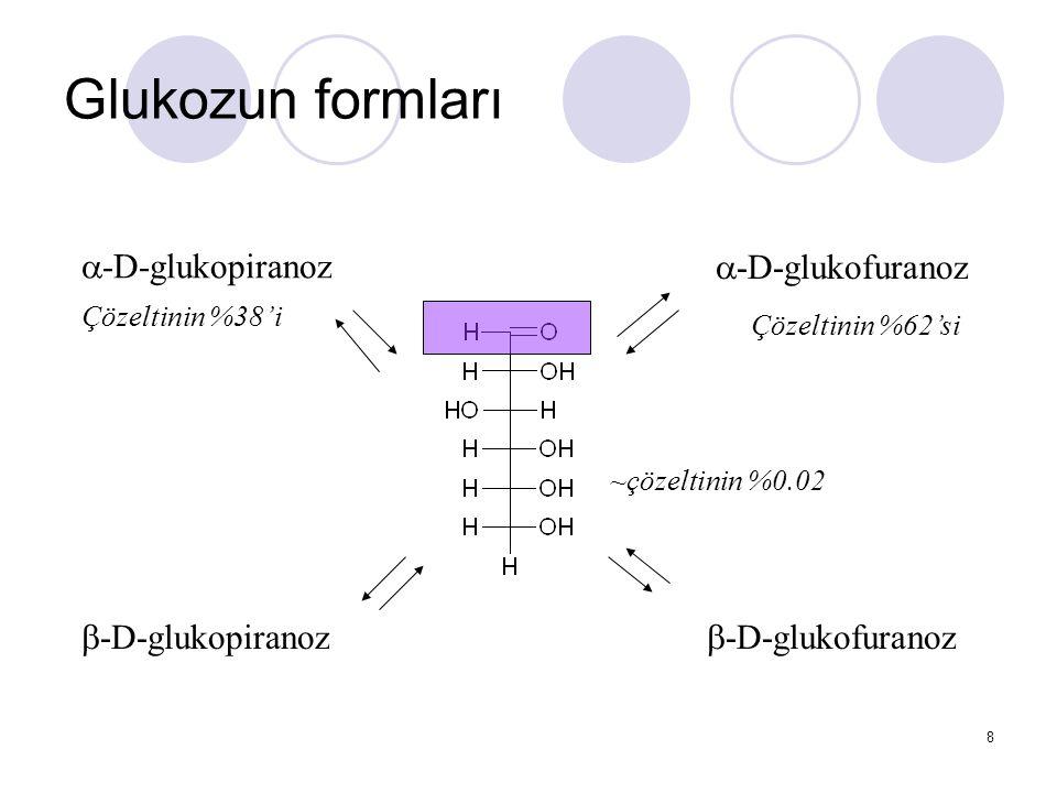 Glukozun formları a-D-glukopiranoz a-D-glukofuranoz b-D-glukopiranoz