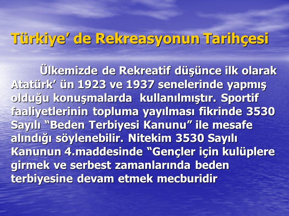 Türkiye' de Rekreasyonun Tarihçesi