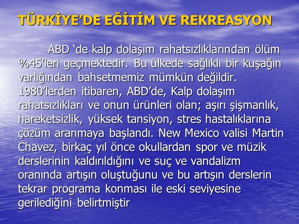 TÜRKİYE'DE EĞİTİM VE REKREASYON