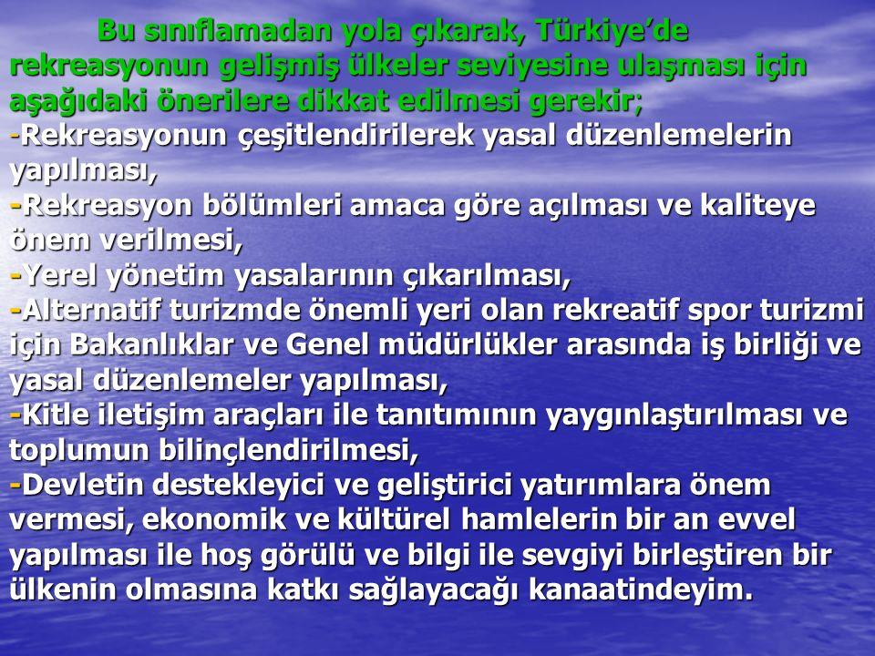 Bu sınıflamadan yola çıkarak, Türkiye'de rekreasyonun gelişmiş ülkeler seviyesine ulaşması için aşağıdaki önerilere dikkat edilmesi gerekir; -Rekreasyonun çeşitlendirilerek yasal düzenlemelerin yapılması, -Rekreasyon bölümleri amaca göre açılması ve kaliteye önem verilmesi, -Yerel yönetim yasalarının çıkarılması, -Alternatif turizmde önemli yeri olan rekreatif spor turizmi için Bakanlıklar ve Genel müdürlükler arasında iş birliği ve yasal düzenlemeler yapılması, -Kitle iletişim araçları ile tanıtımının yaygınlaştırılması ve toplumun bilinçlendirilmesi, -Devletin destekleyici ve geliştirici yatırımlara önem vermesi, ekonomik ve kültürel hamlelerin bir an evvel yapılması ile hoş görülü ve bilgi ile sevgiyi birleştiren bir ülkenin olmasına katkı sağlayacağı kanaatindeyim.