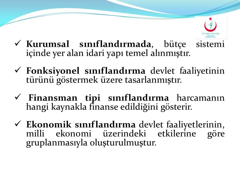Kurumsal sınıflandırmada, bütçe sistemi içinde yer alan idari yapı temel alınmıştır.