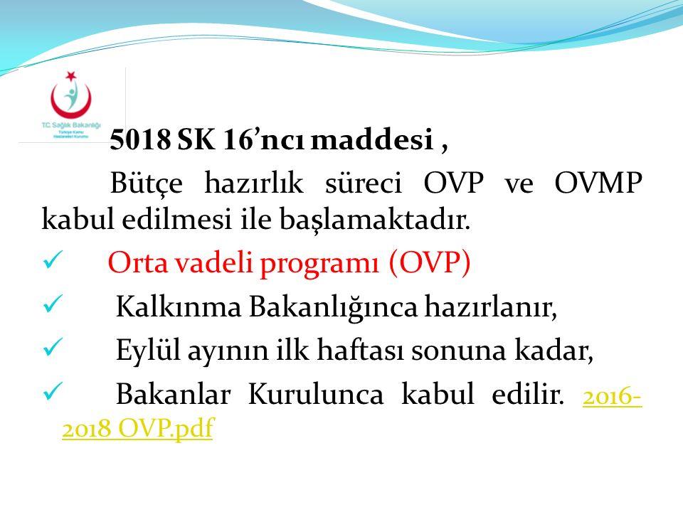 5018 SK 16'ncı maddesi , Bütçe hazırlık süreci OVP ve OVMP kabul edilmesi ile başlamaktadır. Orta vadeli programı (OVP)