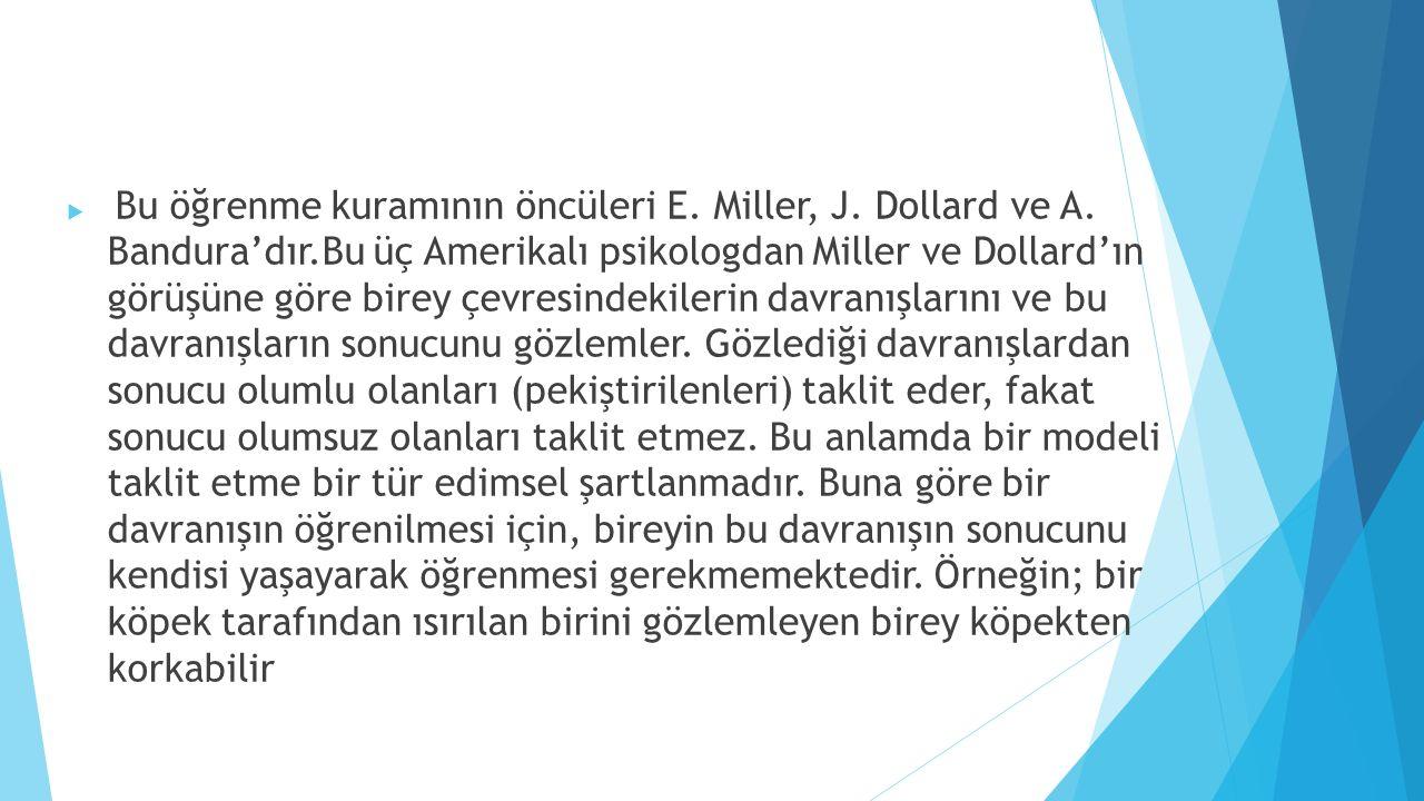 Bu öğrenme kuramının öncüleri E. Miller, J. Dollard ve A. Bandura'dır