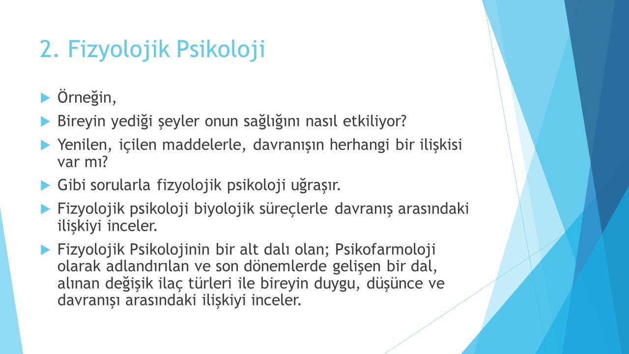 2. Fizyolojik Psikoloji Örneğin,