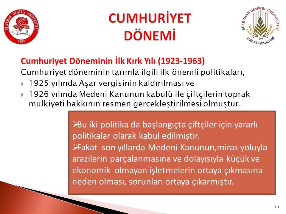 CUMHURİYET DÖNEMİ Cumhuriyet Döneminin İlk Kırk Yılı (1923-1963)