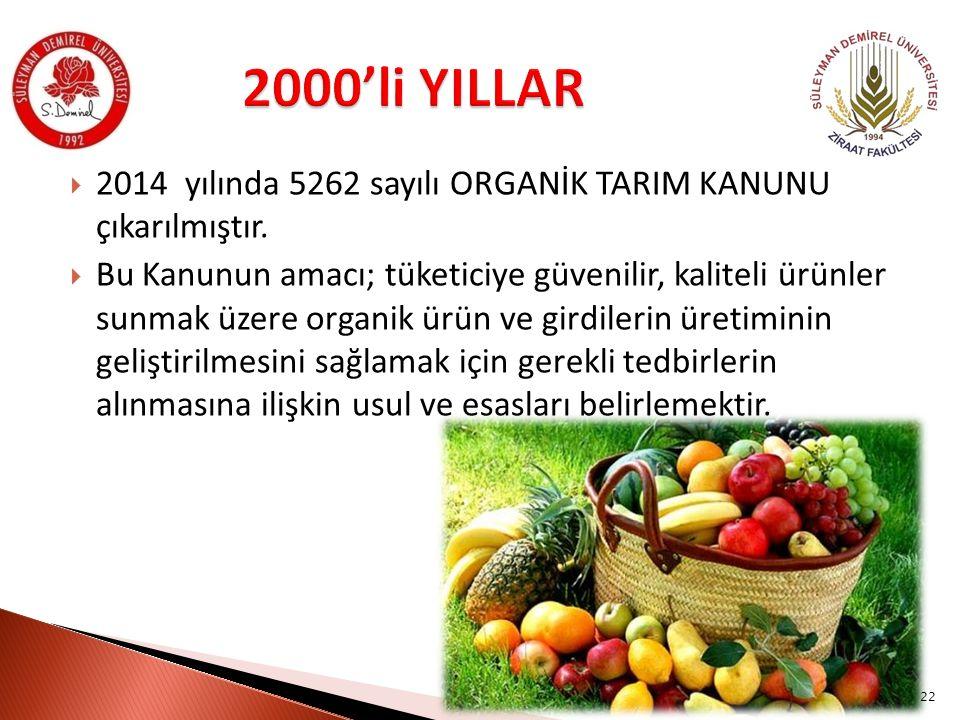 2000'li YILLAR 2014 yılında 5262 sayılı ORGANİK TARIM KANUNU çıkarılmıştır.