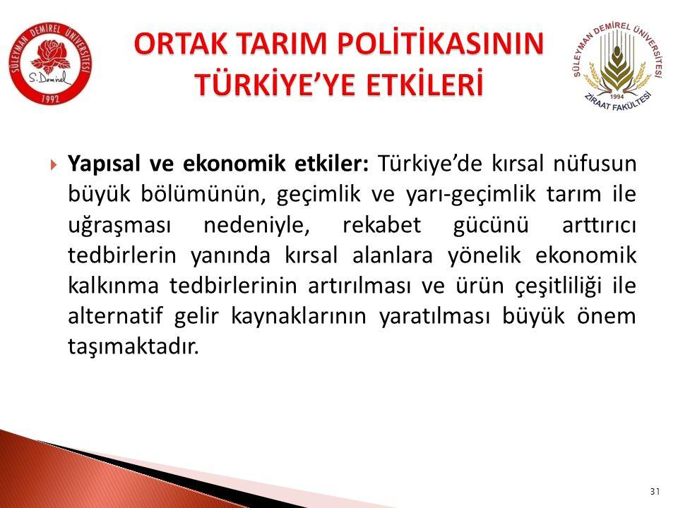 ORTAK TARIM POLİTİKASININ TÜRKİYE'YE ETKİLERİ