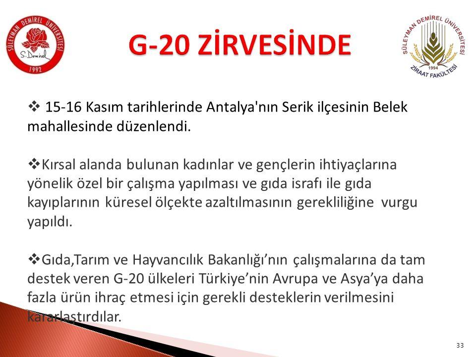 G-20 ZİRVESİNDE 15-16 Kasım tarihlerinde Antalya nın Serik ilçesinin Belek mahallesinde düzenlendi.