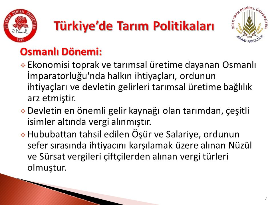 Türkiye'de Tarım Politikaları